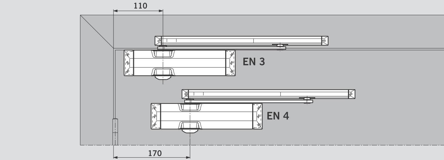 Усилие EN 3/4 настраивается путем смещения корпуса доводчика на двери - DORMA TS 90 Impulse