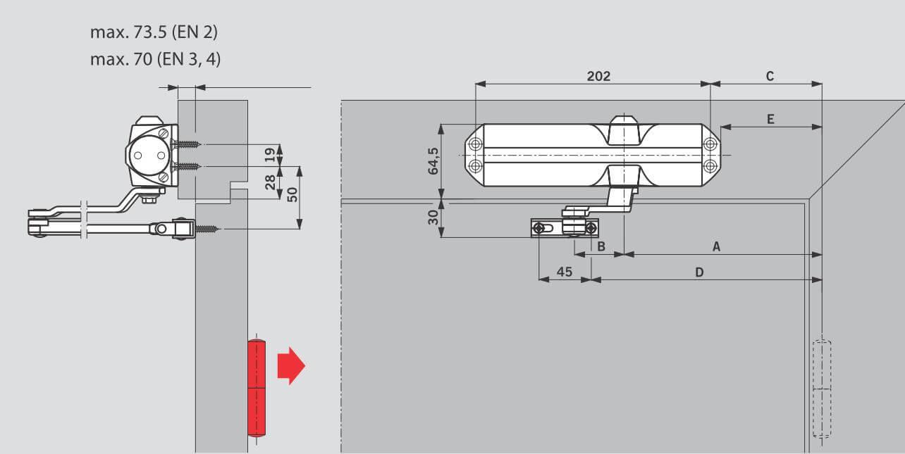 Установка на дверной коробке со стороны, противоположной петлям для DORMA TS68