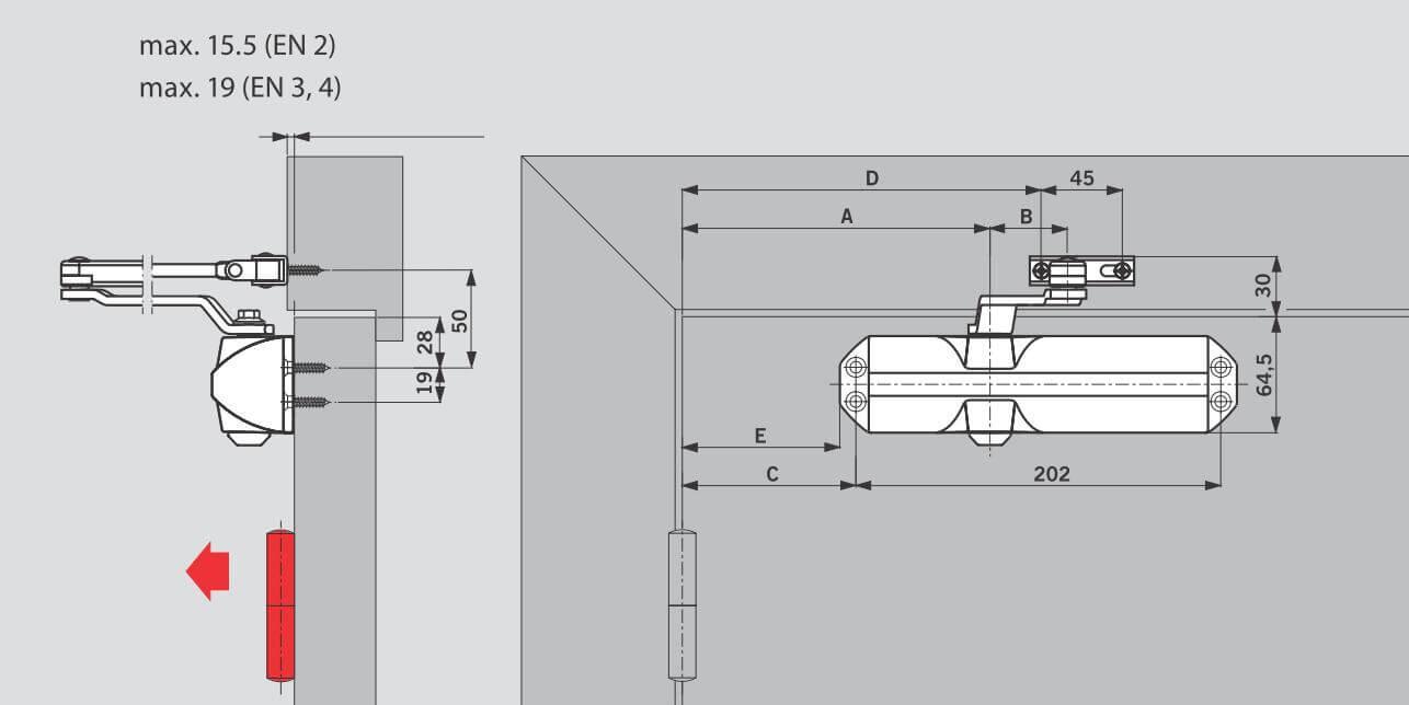 Монтаж на дверном полотне со стороны петель для DORMA TS68