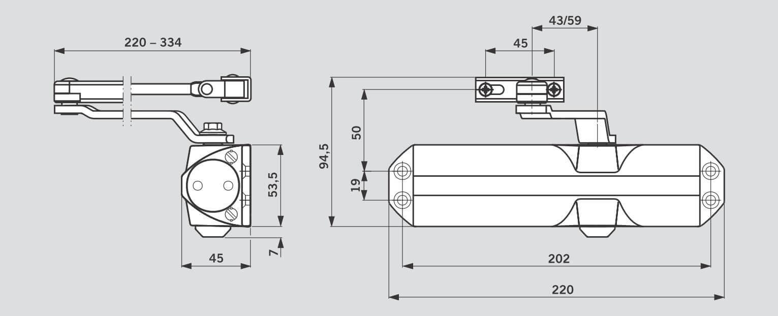 Схема дверного доводчика DORMA TS68