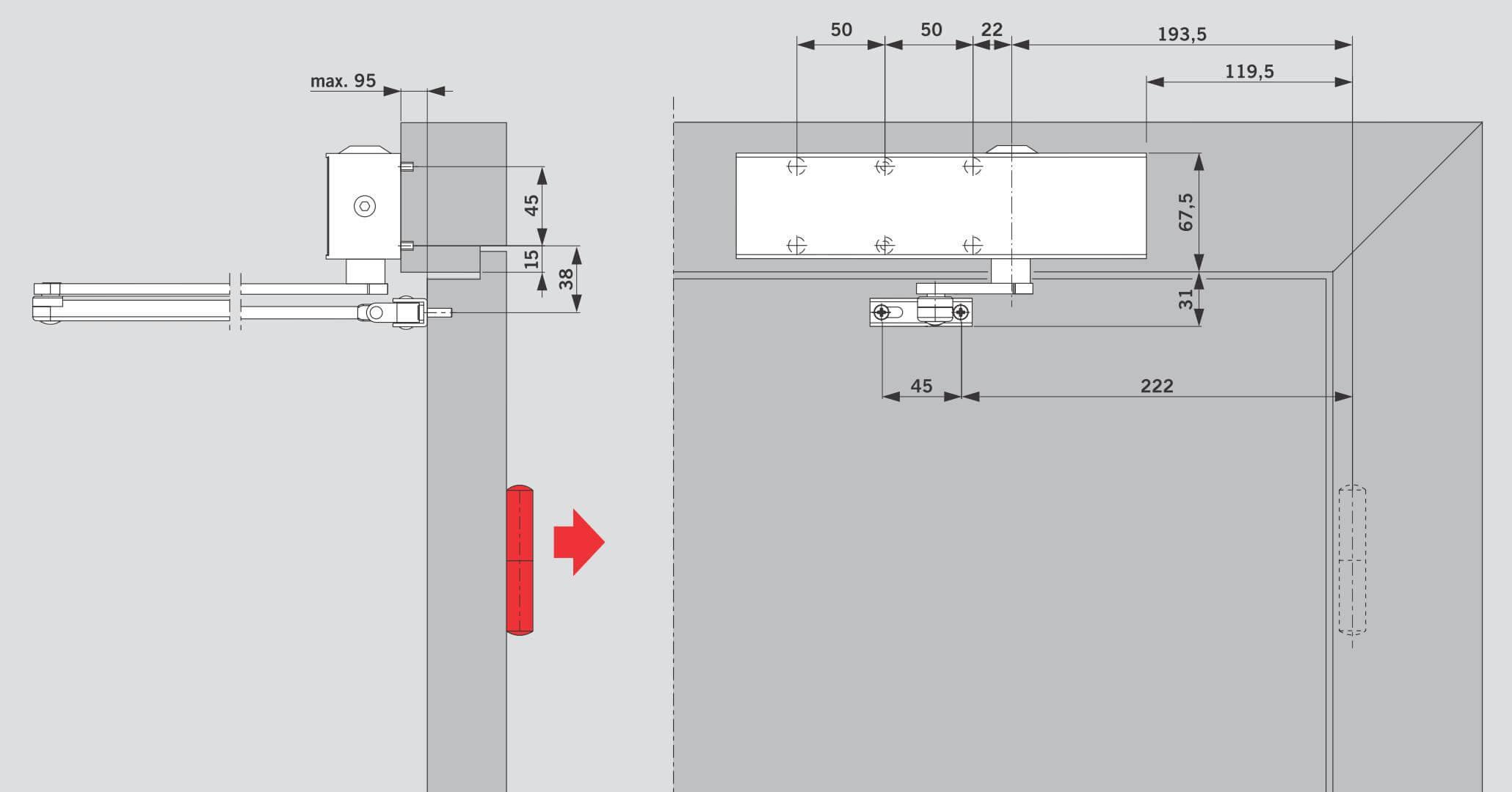 Установка на дверной коробке со стороны, противоположной петлям для DORMA TS 73V