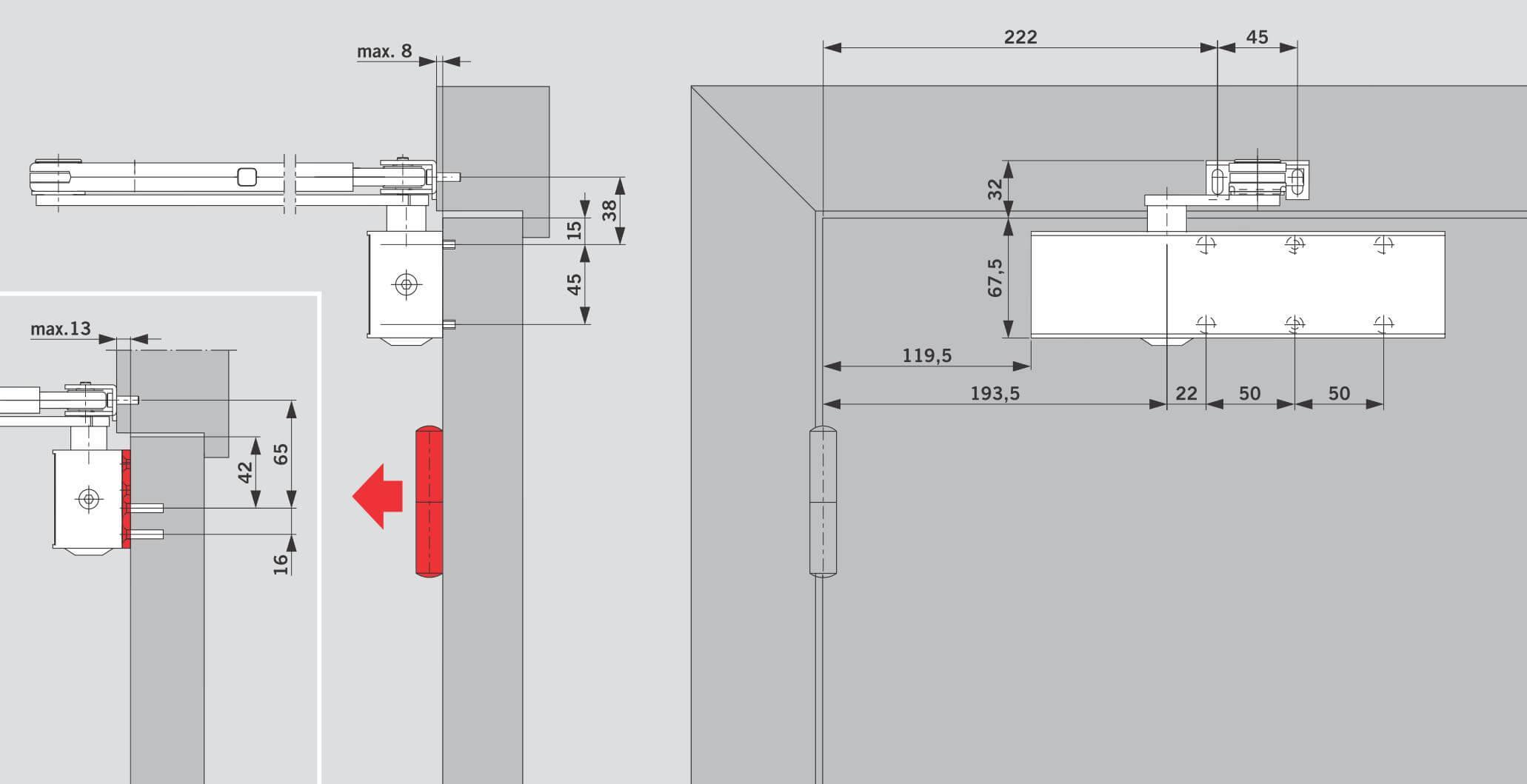 Монтаж на дверном полотне со стороны петель для моделей с рычагом ФОП - DORMA TS 73V