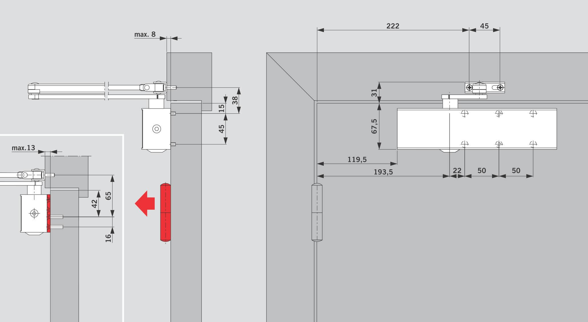 Монтаж на дверном полотне со стороны петель для DORMA TS 73V