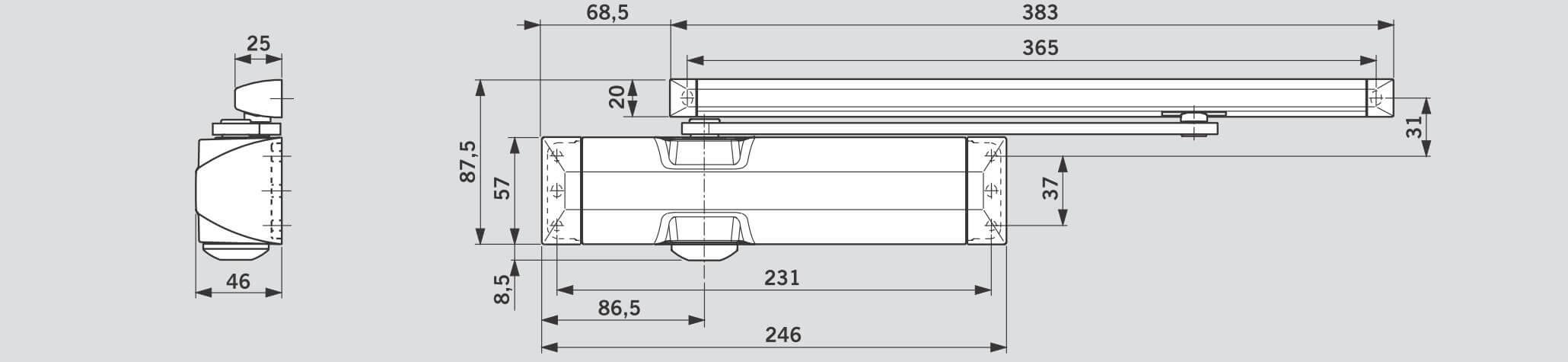 Схема дверного доводчика DORMA TS 90 Impulse