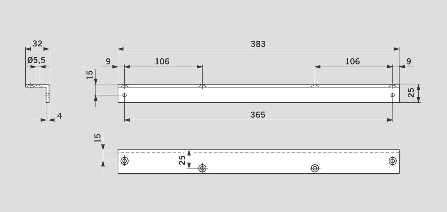 Угловая монтажная пластина - DORMA TS 90 Impulse