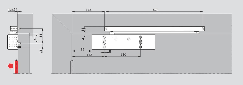 Монтаж на дверном полотне со стороны петель для DORMA TS 92