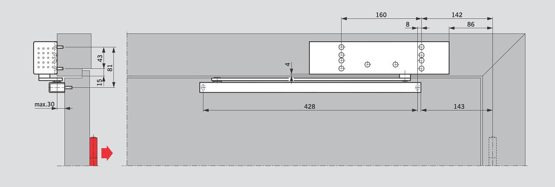 Установка на дверной коробке со стороны, противоположной петлям для DORMA TS 92