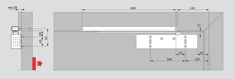 Монтаж на дверном полотне со стороны, противоположной петелям для DORMA TS 92
