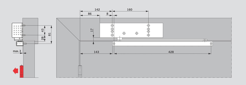 Монтаж на дверной коробке со стороны петель для DORMA TS 92