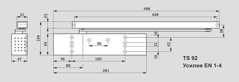 Схема дверного доводчика DORMA TS 92