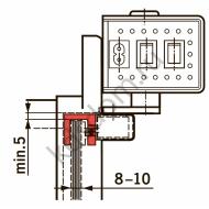 Монтажная пластина-башмак на стеклянную дверь толщиной 8-10 мм